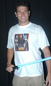 Howie Gordon of Big Brother 6 and Big Brother 7: All-Stars wielding a lightsaber