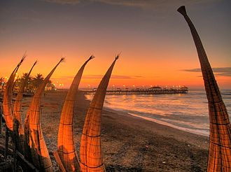 World Surfing Reserves - Caballitos de totora in Huanchaco beach sunset