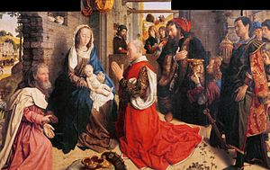 Death of the Virgin (van der Goes) - Image: Hugo van der goes monforte altarpiece detail 01