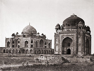 Humayun's Tomb - Tomb of Humayun, with his barber's tomb (Nai-ka-Gumbad) in the foreground, Delhi (1858 photograph)