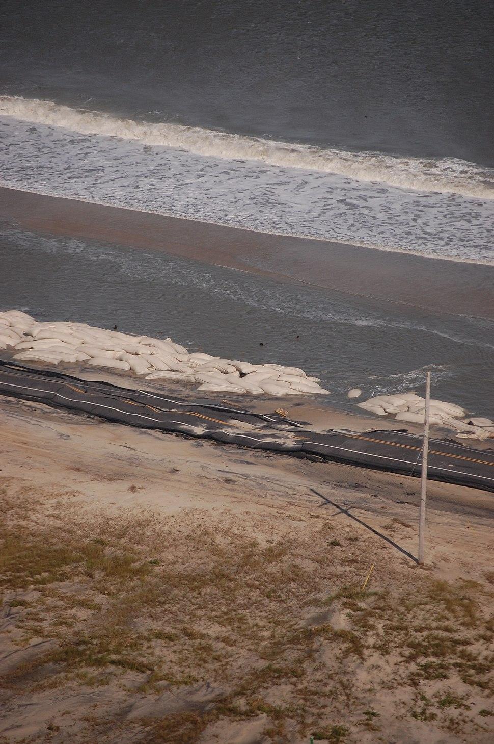 Hurricane Sandy - sandbagged beach, Cape Hatteras