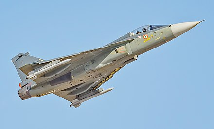 India's Tejas multi-role fighter aircraft IAF Tejas full size (32941198511).jpg