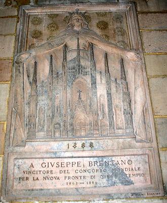 """Achille Alberti - Funeral Monument for Giuseppe Brentano by Alberti. Note the Madonna della Misericordia, the symbol of the """"Reverenda Fabbrica del Duomo of Milan""""."""