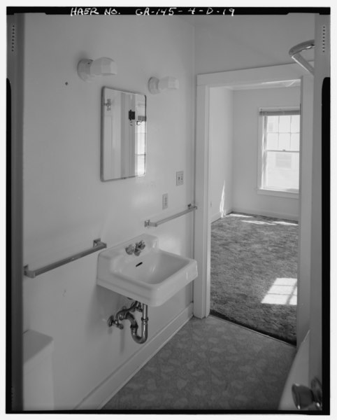 file interior of bathroom showing door to north bedroom unusual paired arrangement of electrical. Black Bedroom Furniture Sets. Home Design Ideas