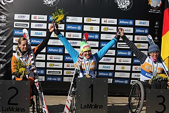2013 IPC Alpine Skiing World Championships - Claudia Loesch (gold), Anna Schaffelhuber (silver) and Laurie Stephens (bronze), medalists of the sitting Super-G event