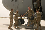 ISAF Command Sgt. Maj. Capel greets Sgt. Maj. of the Army Chandler at Bagram Air Field 120402-A-KO300-967.jpg