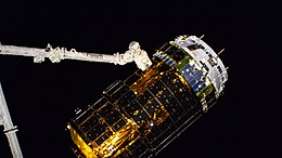 ISS-63 HTV-9 cargo ship in the grips of the Canadarm2.jpg