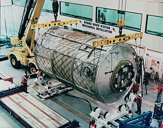 The cancelled Habitation module under construction at Michoud in 1997 ISS Habitation module.jpg