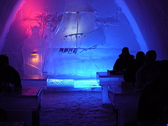 Ice hotel - Patrons at the ice bar at SnowCastle of Kemi, 2007
