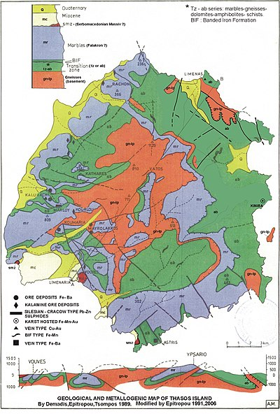 Geological and Metallogenic map of Thasos Island.