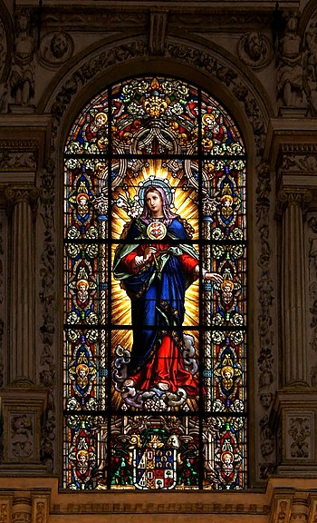 English: stained glass window of the Immaculat...