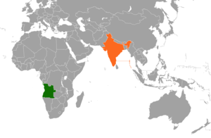 Angola–India relations - Image: India Angola Locator
