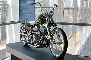 """Indian Larry - Chain of Mystery: the last chopper that Larry built (2004); shown here during a temporary exhibit. As Larry described it, """"You don't see bikes like this that often. That's what I shoot for, something that's just mind-bending""""."""