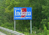 Indiana state welcome sign