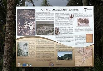 Porto Alegre, São Tomé and Príncipe - Information wall on the history of Roça Porto Alegre