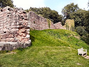 Grade I listed buildings in Cheshire West and Chester - Image: Inner bailey wall, Beeston Castle