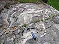 Interbedded metagraywacke-slate (Lake Vermilion Formation, Neoarchean, 2.695-2.722 Ga; Rt. 169 roadcut between Tower and Peyla, Minnesota, USA) 4 (21398320030).jpg