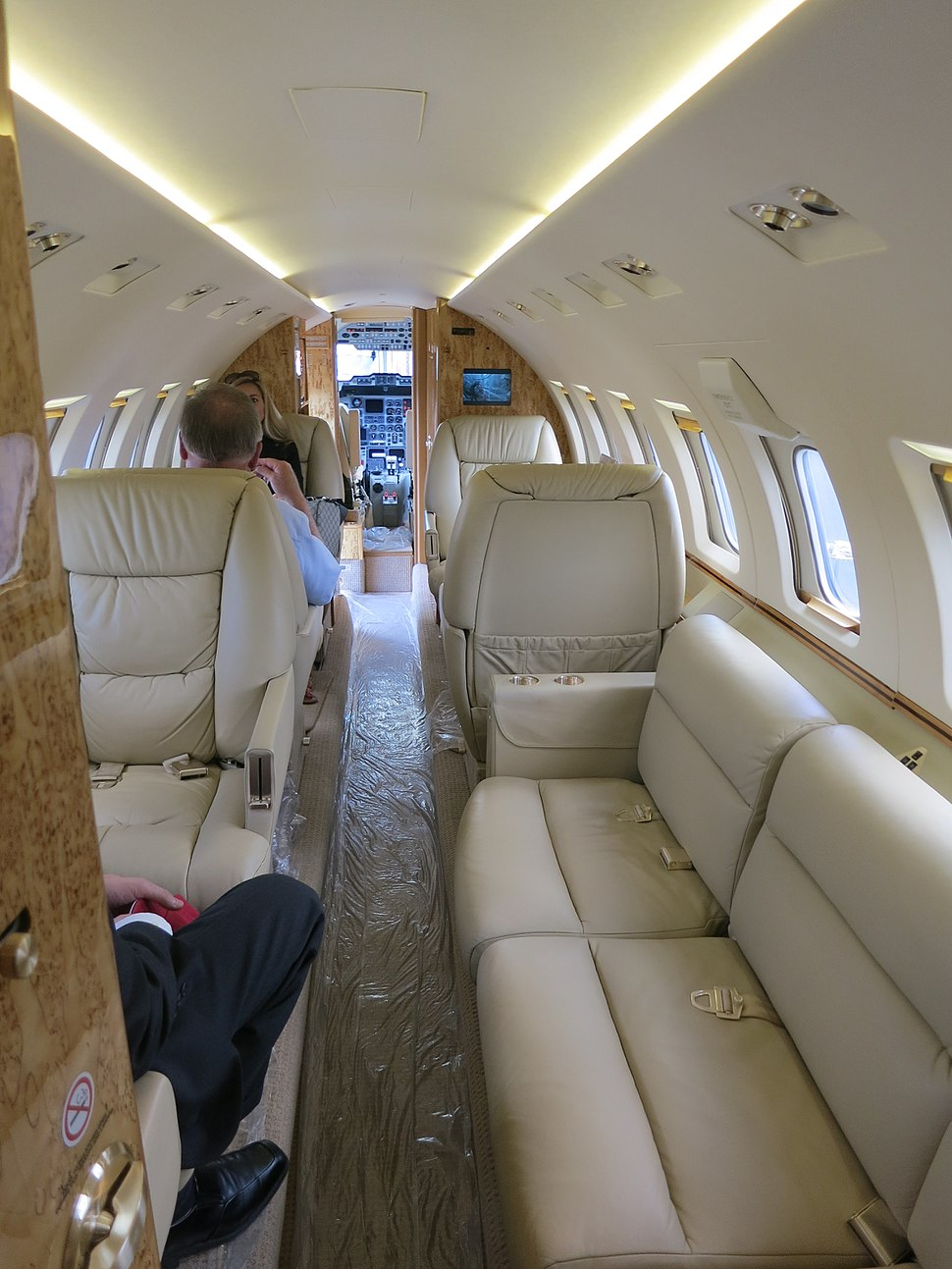 Interior of Hawker 1000 cabin with passengers