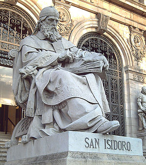 Isidore - Statue of Isidore of Seville  in front of the National Library of Spain, in Madrid.