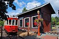 Issaquah Valley Trolley carbarn - south end, with ex-Milan car 96 outside, 2008.jpg