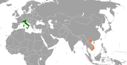 Map indicating locations of Italy and Vietnam