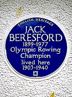 JACK BERESFORD 1899-1977 Olympic Rowing Champion lived here 1903-1940.jpg