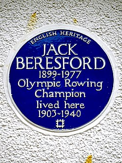 Jack beresford 1899 1977 olympic rowing champion lived here 1903 1940