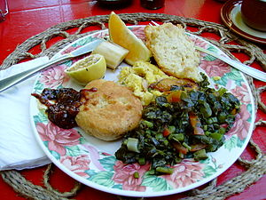Callaloo - A Jamaican breakfast including callaloo (bottom right)