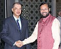 James Alix Michel being received by the Minister of State for Environment, Forest and Climate Change (Independent Charge), Shri Prakash Javadekar, on his arrival, at Indira Gandhi International Airport, in New Delhi.jpg