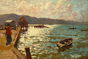 Ferries in Wellington - Wellington Harbour, 1894 by J M Nairn