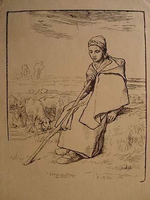 Meadows near Rijswijk and the Schenkweg - Jean-Baptise Millet (after Jean-François Millet) - La grande bergère assise, woodcut, c. 1874, various collections.