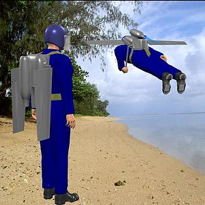 Jet pack - Depiction of a jetpack with folding wings