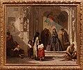 Jeune femme faisant la charité à l'entrée de la chapelle de l'hôpital San Sebastian à Cordoue (avec cadre), Léon Bonnat, Musée Goya.jpg