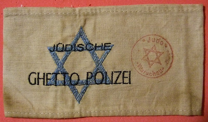 File:Jewish Warsaw Ghetto Police Arm Band early 1940s.jpg