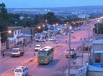 Jijiga - Main street in Jijiga's Laanta Hawada neighborhood