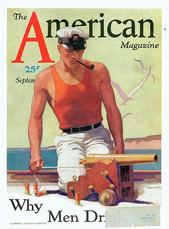 The American Magazine - John E. Sheridan  (1880–1948) illustration of Joseph Cotten (September 1931)