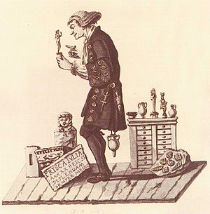 Museums in Basel - Caricature of the University of Basel professor Johann Jakob d'Annone (1728–1804), who bequeathed his cabinet of natural curiosities and antiquities to the public collection in the Haus zur Mücke.
