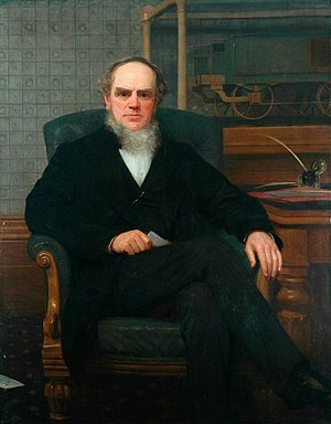 John Ramsbottom (engineer) - 1879 by William Percy (1820–1893), with a model of his water scoop