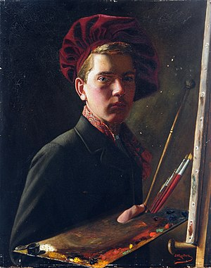 John St Helier Lander - A self-portrait by Lander
