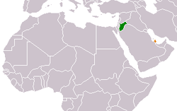 Map indicating locations of Jordan and Qatar