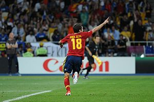 Jordi Alba - Alba celebrating his goal in the Euro 2012 Final.
