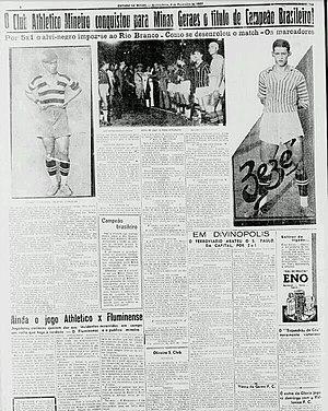 """1937 Copa dos Campeões Estaduais - """"Atlético brings Minas Gerais Brazilian champion title.""""Estado de Minas 3 February 1937."""