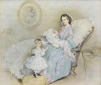 Empress Elisabeth of Austria - Empress Elisabeth with her two children and a portrait of the late Archduchess Sophie Friederike, 1858