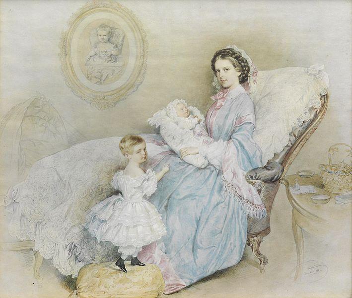 File:Josef Kriehuber Kaiserin Elisabeth mit ihren Kindern 1858.jpg
