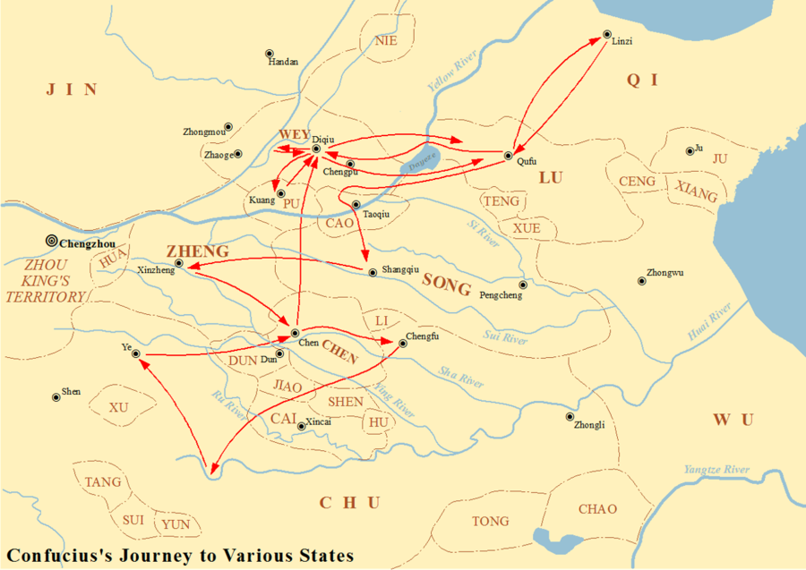 Map showing the journey of Confucius to various states between 497 BC and 484 BC. Journey of Confucius.png