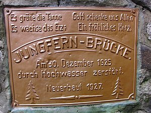 Bode (river) - Board by the Jungfern Bridge built in 1927 after its predecessor was destroyed on 30 December 1925