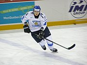 An ice hockey player standing directly in front of the camera. He is wearing a black helmet and uniform.