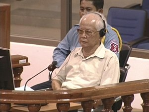 Khieu Samphan at a public hearing before the P...