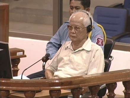 Khieu Samphan at a public hearing before the Pre-Trial Cambodia Tribunal on 3 July 2009. KSAMPHAN3July2009-1.jpg