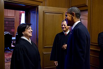 Elena Kagan - Kagan, Obama, and Roberts before her investiture ceremony